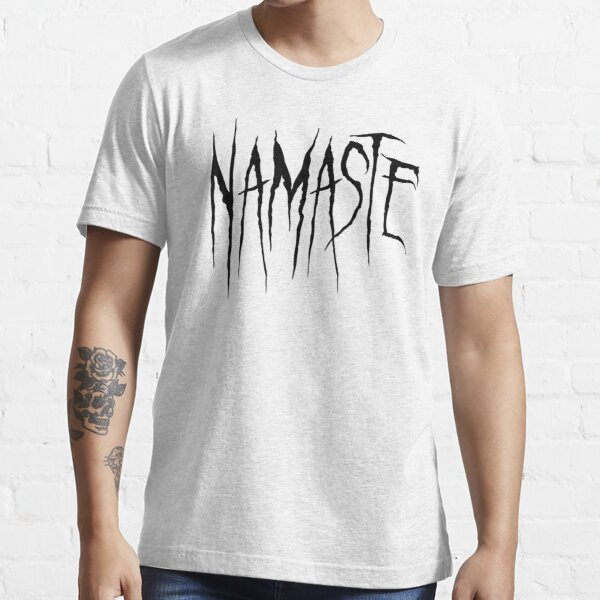 Namaste Black Metal Script Essential T-Shirt