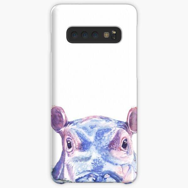 Happy Hippo Watercolor Painting Samsung Galaxy Snap Case