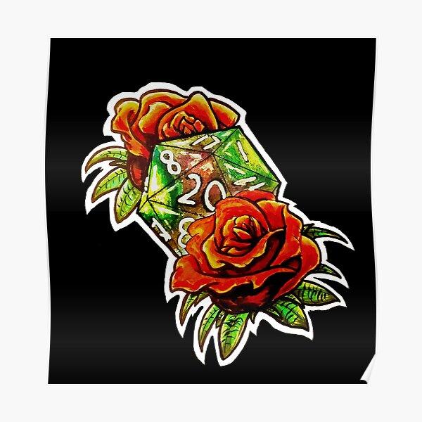 Tattoo Rose D20 Poster