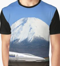 Mount Fuji and the Bullet Train JR 500, Japan Graphic T-Shirt