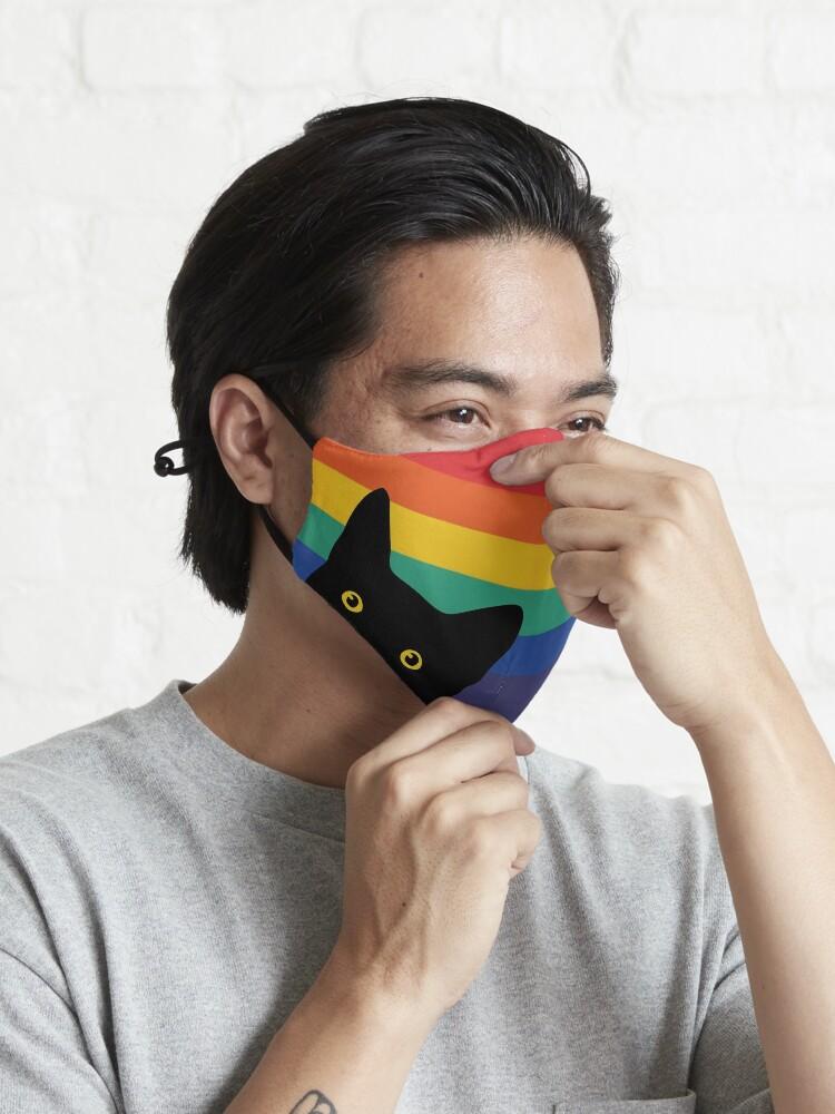 Alternate view of Peeking Cat in Rainbow Circle Mask