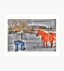 Lina and the Horse HDR Art Print
