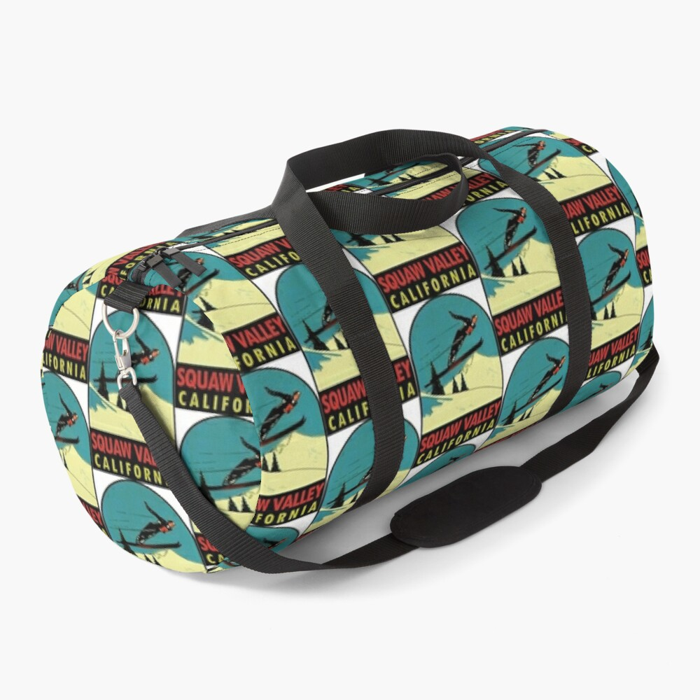 Squaw Valley Skiing California Vintage Travel Decal Duffle Bag