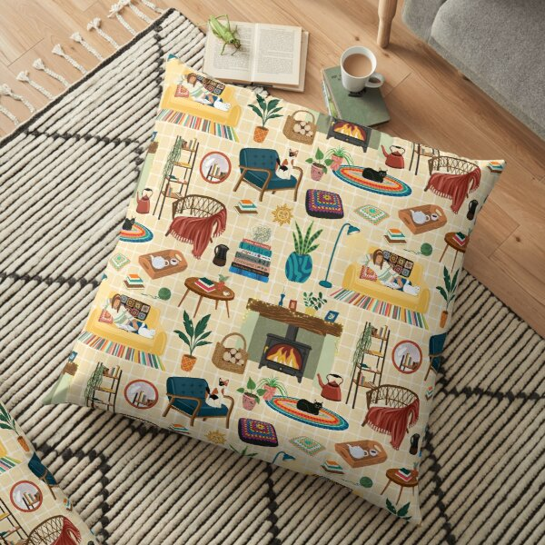Cosy Cat Lady Yellow Pattern Floor Pillow