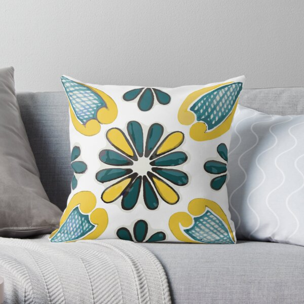 Talavera Green & Gold Throw Pillow