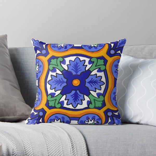 Talavera Blue Burst Throw Pillow