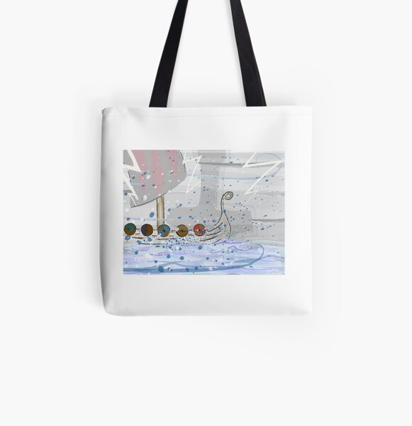 Viking Longship On Stormy Seas All Over Print Tote Bag
