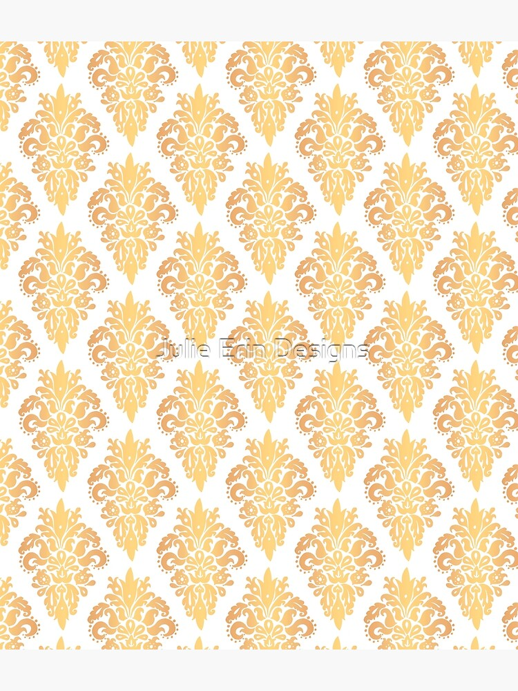 Gold and White Classic Damask Pattern by julieerindesign