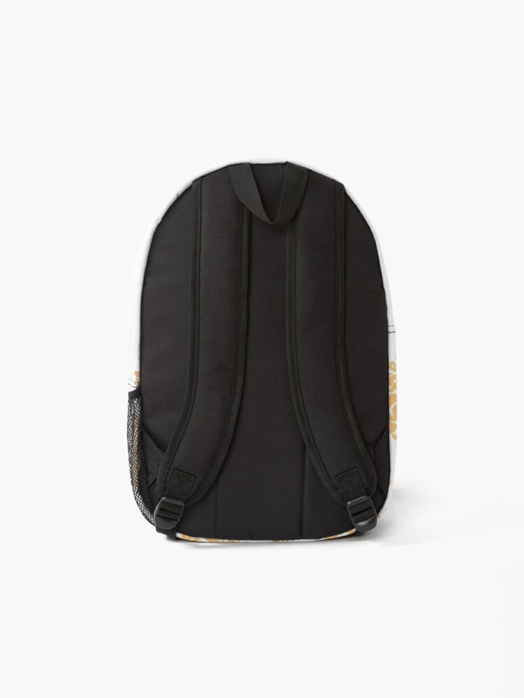 Alternate view of Gold and White Classic Damask Pattern Backpack