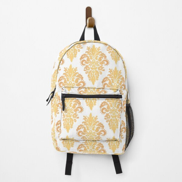 Gold and White Classic Damask Pattern Backpack