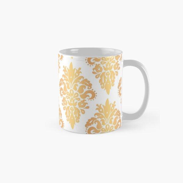 Gold and White Classic Damask Pattern Classic Mug