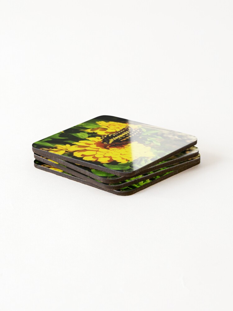 Alternate view of Yellow butterfly by Yannis Lobaina Coasters (Set of 4)