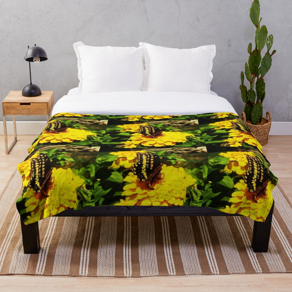 Yellow butterfly by Yannis Lobaina Throw Blanket