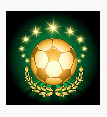 Golden Soccer Ball Photographic Print