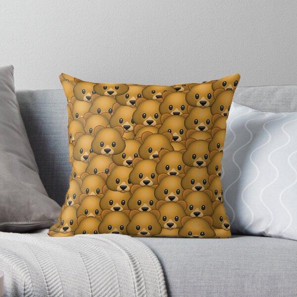 Bear Emoji Pattern Throw Pillow