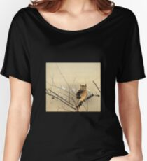 Goun Owl with Early Plum Blossoms Woodblock Print Women's Relaxed Fit T-Shirt