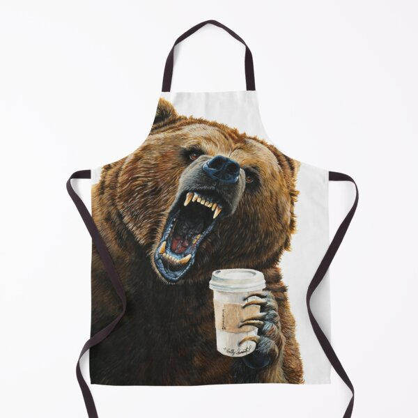 Grizzly Mornings - give that bear some coffee Apron