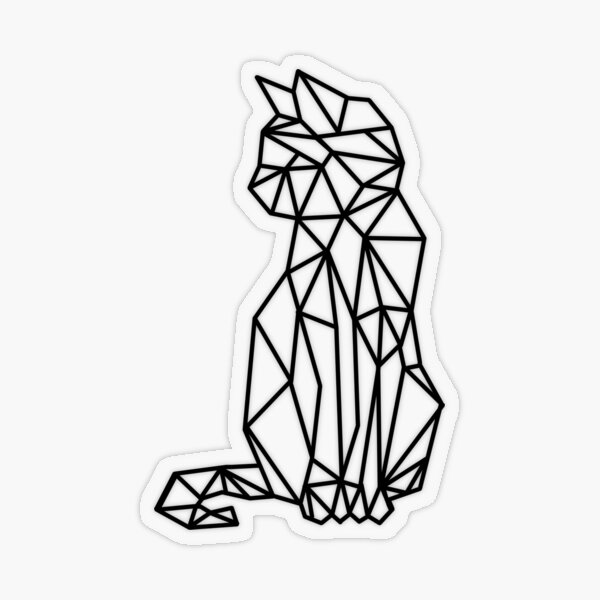 Geometric cat Transparent Sticker