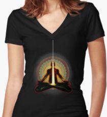 receiving light (meditator) Women's Fitted V-Neck T-Shirt