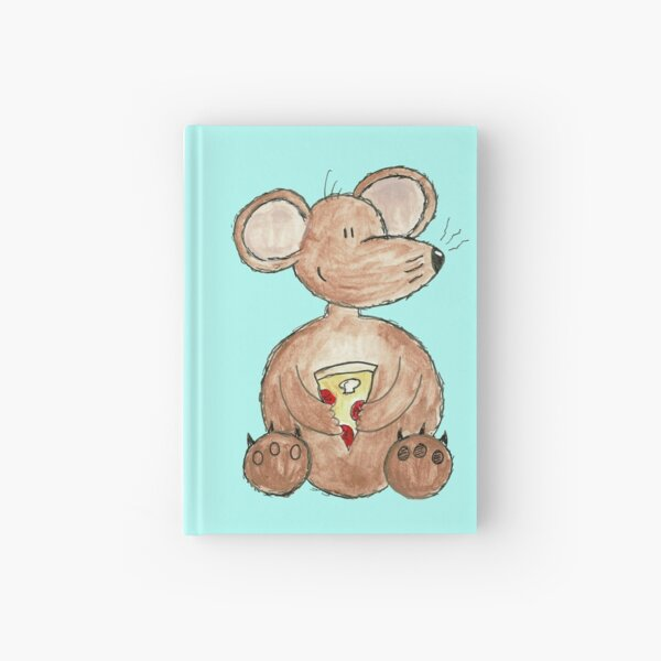 Mouse Eating Pizza Hardcover Journal