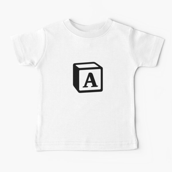 """Letter """"A"""" Block Personalised Monogram Baby T-Shirt"""