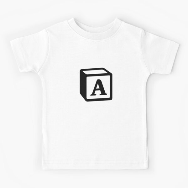 "Letter ""A"" Block Personalised Monogram Kids T-Shirt"