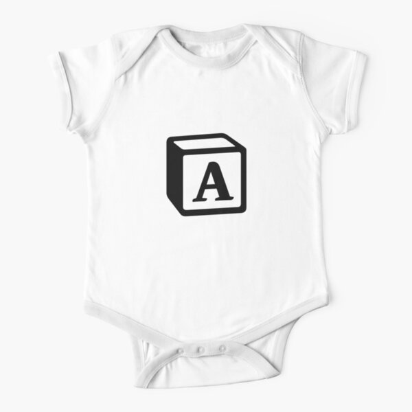 """Letter """"A"""" Block Personalised Monogram Short Sleeve Baby One-Piece"""