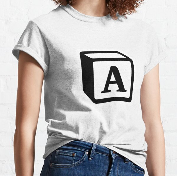 """Letter """"A"""" Block Personalised Monogram Classic T-Shirt"""