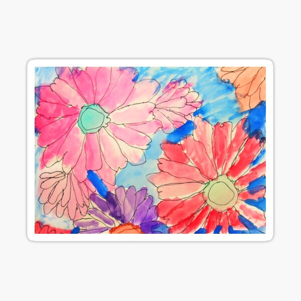Rainbow Watercolor Flowers Sticker