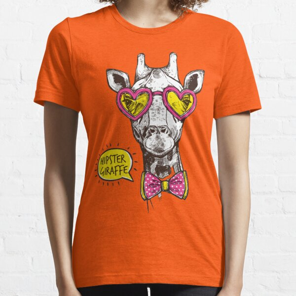 Hipster Giraffe in rose sunglasses Essential T-Shirt
