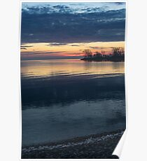 Stripes and Layers - Sunrise on the Lake Shore Poster