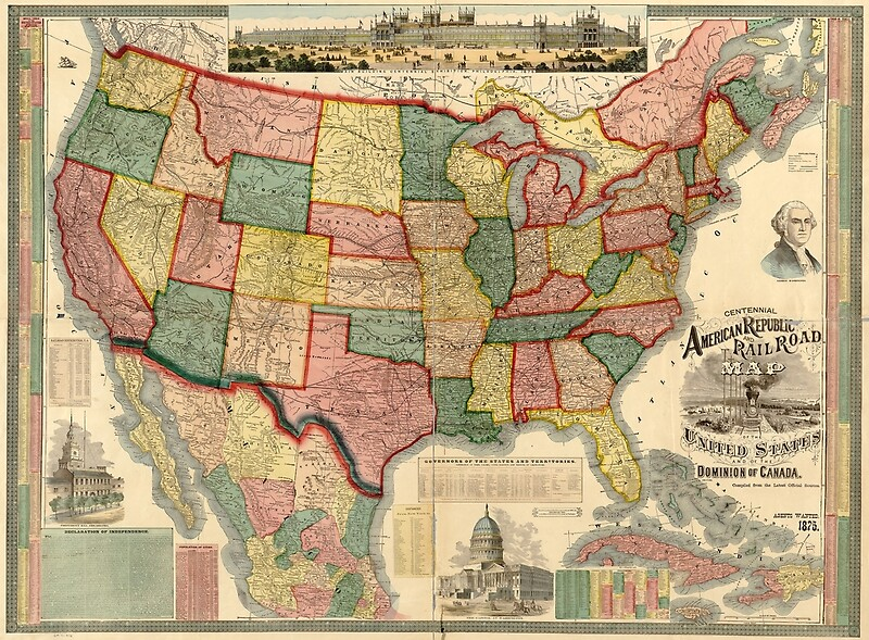 Centennial American Republic And Railroad Map Of The United States - Us canada railroad map