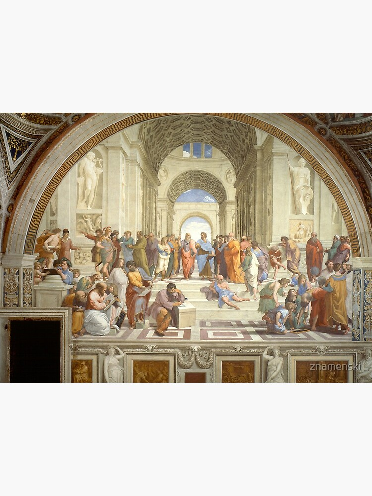 The School of Athens (1509–1511) by Raphael, depicting famous classical Greek philosophers in an idealized setting inspired by ancient Greek architecture: Mask