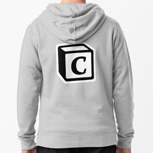 """Letter """"C"""" Block Personalised Monogram Zipped Hoodie"""