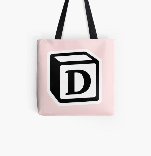 "Letter ""D"" Block Personalised Monogram All Over Print Tote Bag"