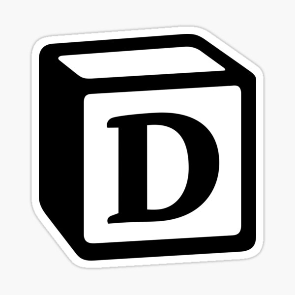 "Letter ""D"" Block Personalised Monogram Sticker"