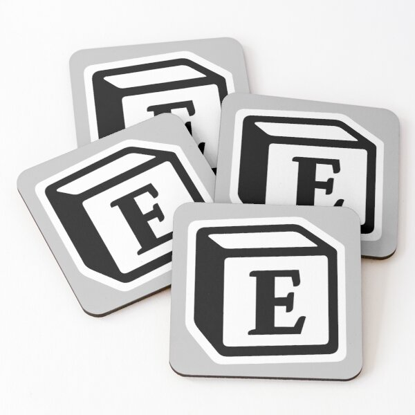 "Letter ""E"" Block Personalised Monogram Coasters (Set of 4)"