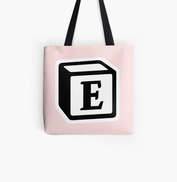 "Letter ""E"" Block Personalised Monogram All Over Print Tote Bag"