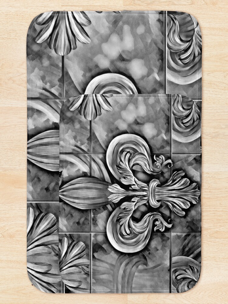 Alternate view of Vintage Fleur-de-lis ornament Bath Mat