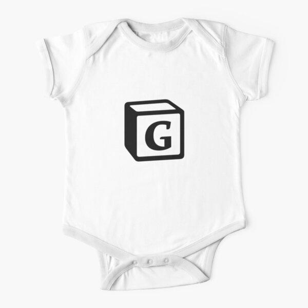 "Letter ""G"" Block Personalised Monogram Short Sleeve Baby One-Piece"