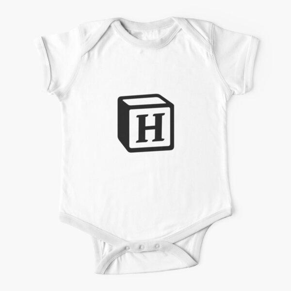 "Letter ""H"" Block Personalised Monogram Short Sleeve Baby One-Piece"