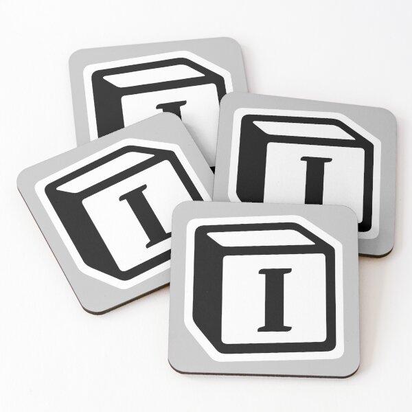 "Letter ""I"" Block Personalised Monogram Coasters (Set of 4)"