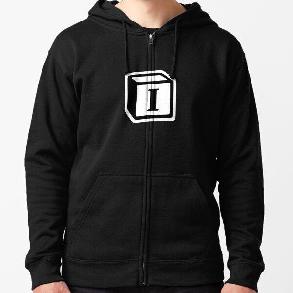 """Letter """"I"""" Block Personalised Monogram Zipped Hoodie"""