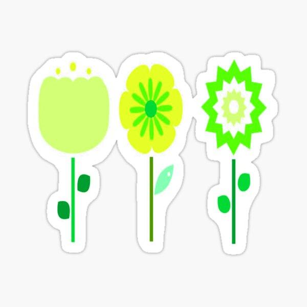 Three Yellow-Green Flowers Sticker