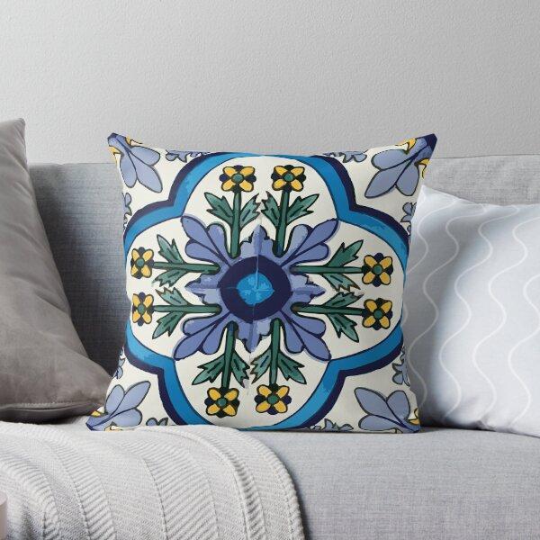 Talavera Blue Green Flora Throw Pillow