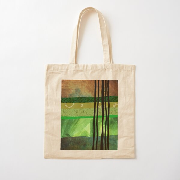 Modern Organic Green Abstract Collage Art Cotton Tote Bag
