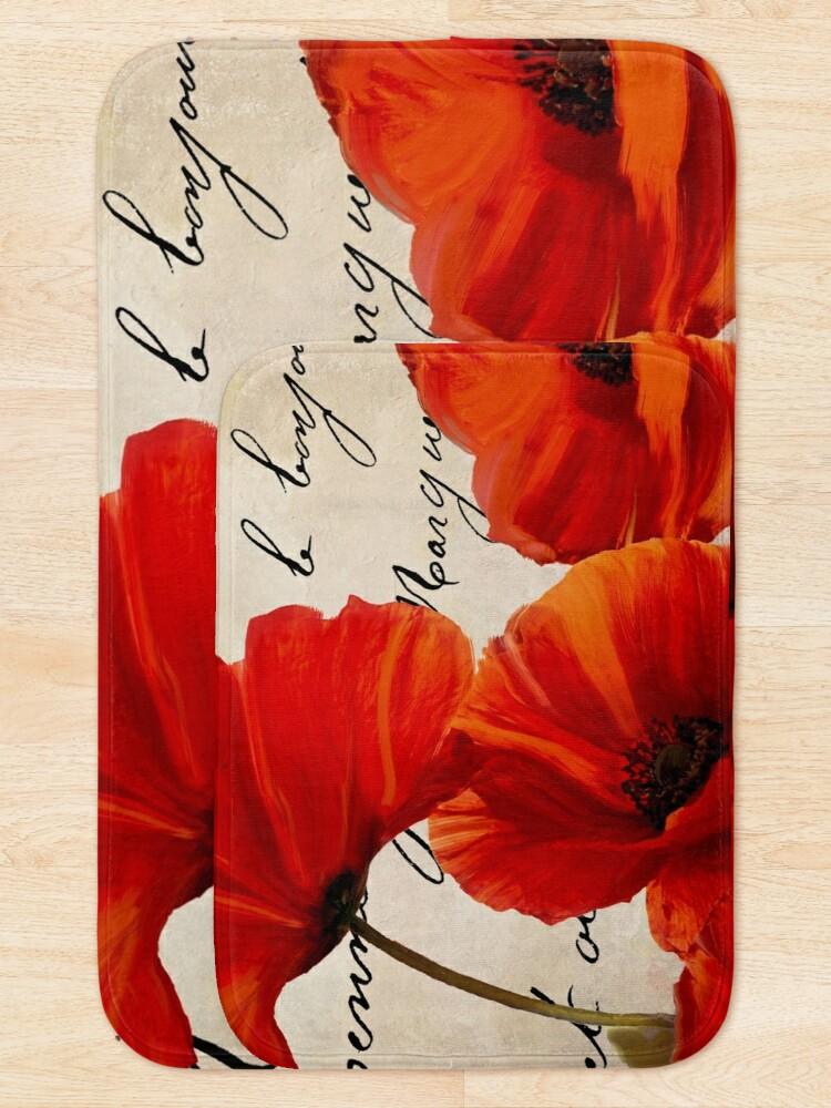 Alternate view of Coquelicots Rouge I Bath Mat