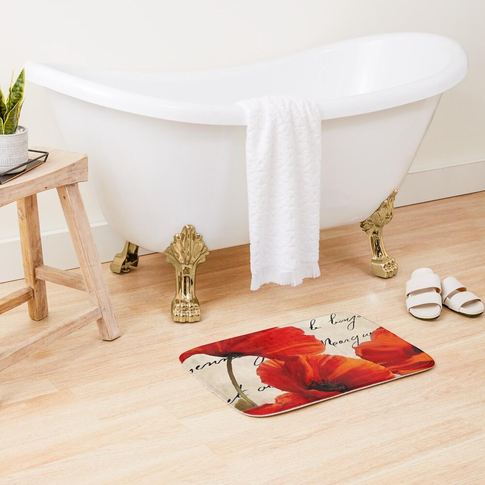 Coquelicots Rouge I Bath Mat