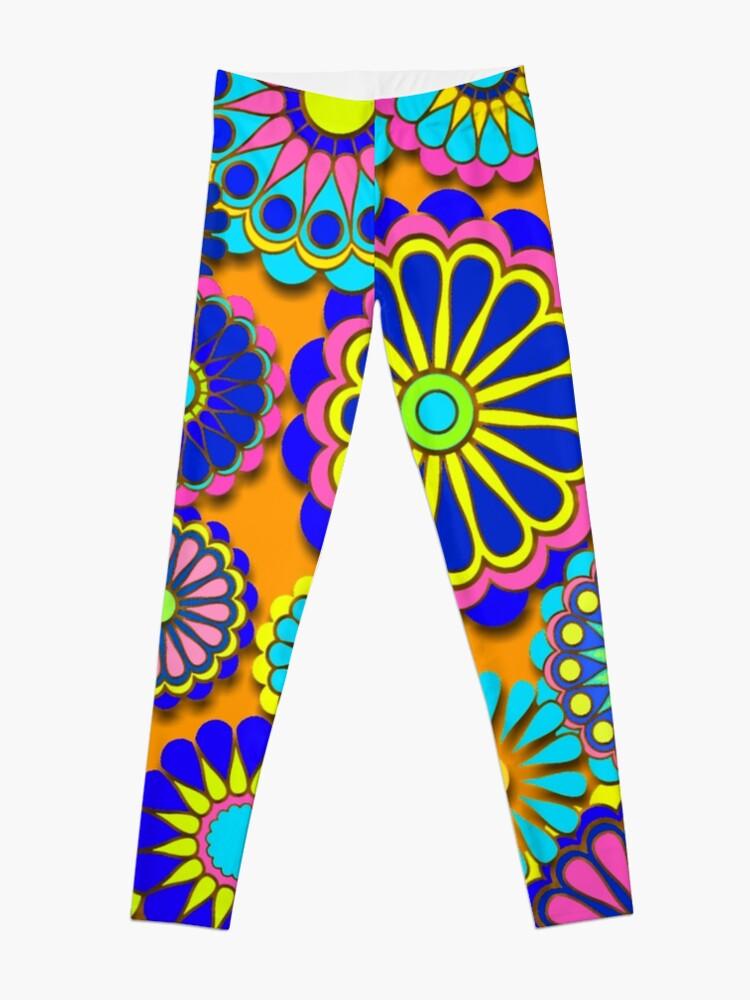Alternate view of Flower Power Retro Style Hippy Flowers Leggings