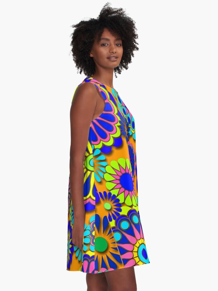 Alternate view of Flower Power Retro Style Hippy Flowers A-Line Dress